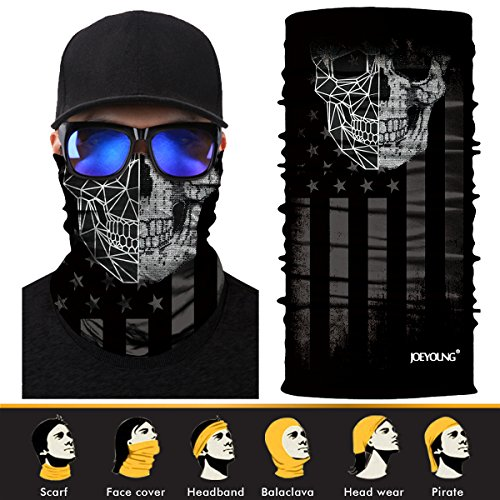 3D Headwear, Skull Face Mask, Magic Scarf, Neck Gaiter, Bandana, Balaclava, Headband for Cycling , Motorcycling, Running, Skateboarding, Moisture Wicking UV Protection, Great for Men & Women