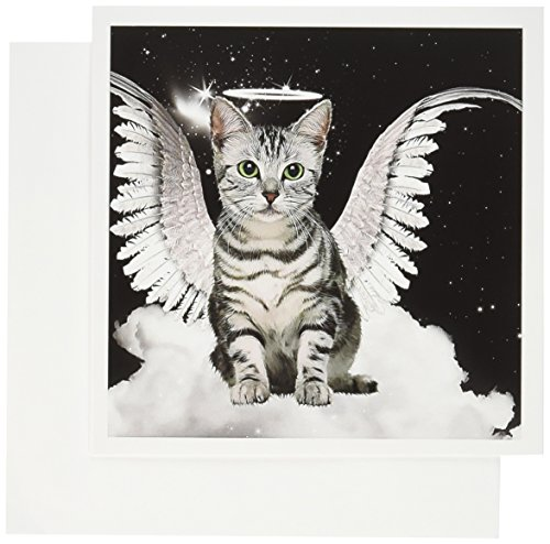3dRose Gray Tabby Cat Angel Sitting on a Cloud with a cute Halo and Angel Wings - Greeting Cards, 6 x 6 inches, set of 6 (gc_62893_1) Angel Cat Greeting Card