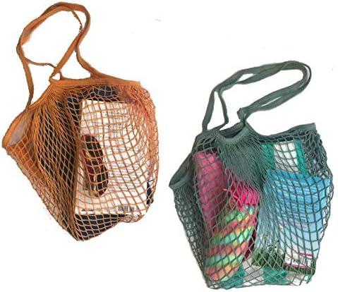 PlanetGro - Bolsa de compras reutilizable de malla de algodón con ...