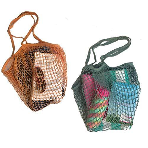 PlanetGro Reusable Cotton Mesh Net Grocery Bags Long Handle String Market Shopping Bag 2 PCS Large Tote Blue Orange Beach ()
