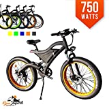 Cheap Bpmimports Black Frame Black Rims 750WATS Fat TIRE Electric Bicycle Bike Samsung Battery Full Suspension !!2018 Model!!!!