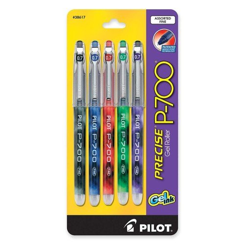 Precise P700 Gel - Pilot Precise P700 Gel Roller Pen - Fine Pen Point Type - 0.7 mm Pen Point Size - Assorted Ink - 5 / Pack
