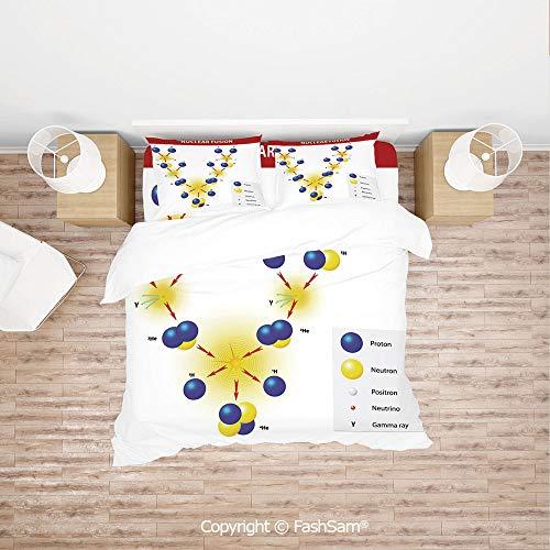 (FashSam Duvet Cover 4 Pcs Comforter Cover Set Nuclear Fusion Proton Neutron Chain Hydrogen Cosmic Energy Molecule Atom Decorative for Boys Grils Kids(Double) )