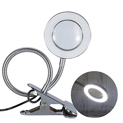 Magnifying Lamp, Desk Magnifier LED USB Tattoo Beauty Magnifier Lamp, 2.5X Cold Light Magnifying Lamp Metal Tube Clip Swing Arm Desk Lamp Tattoo Lamp for Eyebrow Tattoo Manicure Eyelash Extension Read (Heat Lamp Arm Aluminum)