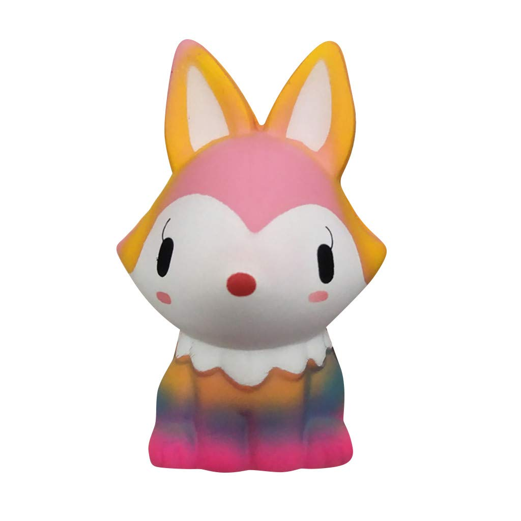 Stress Relief Toys Cartoon Fox Scented Charm Squishy Soft Squeeze Toys Kawaii Jumbo Animals Sensory Fidget Hand Toy for Kids Adults (Multicolor)