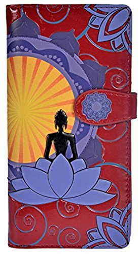 Print Leather Checkbook Wallet - Shag Wear Women's Large Zipper Wallet Buddha Lotus Red