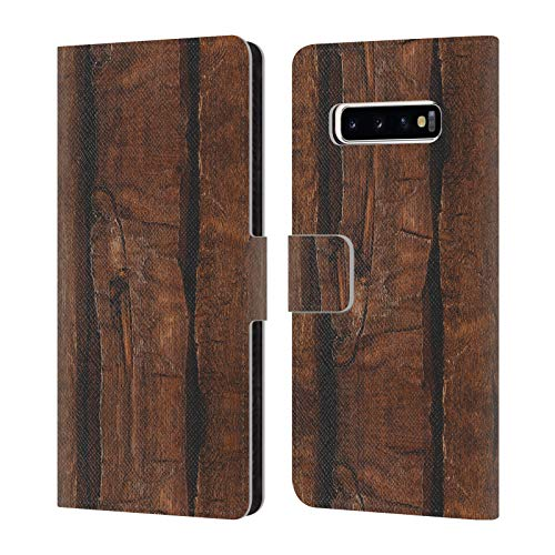Official PLdesign Rustic Brown Old Wood Wood and Rust Prints Leather Book Wallet Case Cover Compatible for Samsung Galaxy S10+ / S10 Plus
