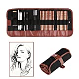 #7: Sketching Pencil Set ONEVER 18pcs Pen Charcoal Sketch Set Carry Pouch Roll Up Canvas of Pencils Eraser Craft Knife Pencil Extender 29pcs
