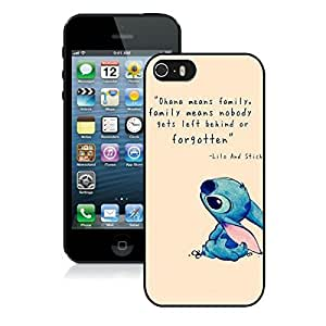 iPhone 5S Case,2015 Hot New Fashion Stylish Lilo and stitch 1 Black Case Cover for iPhone 5S