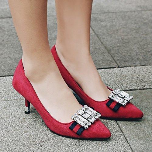 solo da basso scarpe profilo scarpe punta scarpe DEDE con scarpe Sandalette le scarpe a scarpe scarpe da red cristallo donna di donna cEqwInC