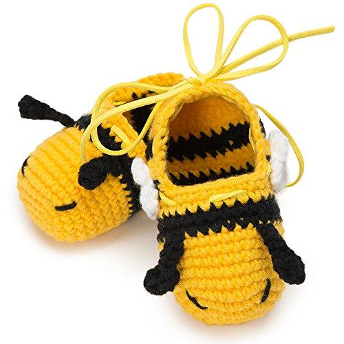 Moskka 100% Milk Cotton Moisture Designer Crochet Newborn Shoes: Baby Shower Gift for Boys and Girls/Best Knitted Crib Footwear for infant –L for 6-9 (Make Your Own Angel Costume For Halloween)