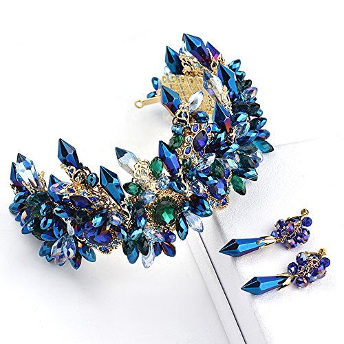 Quantity 1x Custom_European_ Bridal Wedding jewelry _blue_ crystal _post_ earrings _shadow_floor_ Headdress Wedding dress _S02 (Post Jewelry Wedding)