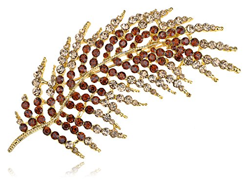 Alilang Vintage Inspired Golden Tone Shiny Smoked Topaz Brown Crystal Rhinestones Feather Leaf Bouquet Brooch Pin Pendent