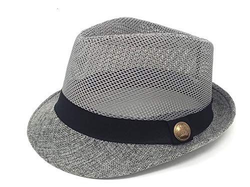24 Extremely Lightweight Classic Fedora Hats - Mesh Breathable Top Solid Brim Assorted Colors Wholesale Bulk LOT