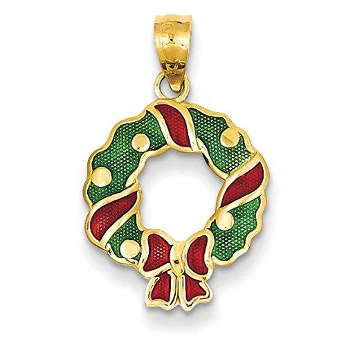 Rouge et vert 14 carats-Émail-Couronne-Dimensions :  22 x 13 mm-JewelryWeb