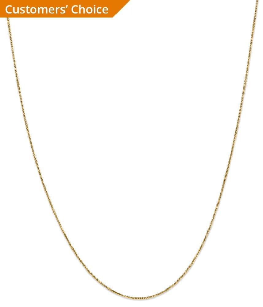 ICE CARATS 14k Yellow Gold .8mm Baby Spiga Link Wheat Chain Necklace 18 Inch Fine Jewelry Gift Set For Women Heart by ICE CARATS (Image #2)