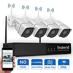 [Newest] Wireless Security Camera System, Firstrend 8ch 960p Wireless Nvr System With 4pcs 1.3mp Ip Security Camera With 65ft Night Vision & Easy Remote View, P2p Cctv Camera System(no Hdd)