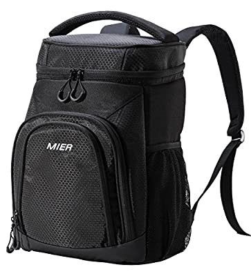 MIER Insulated Cooler Backpack Leakproof Soft Cooler for Lunch, Picnic, Hiking, Beach, Park, 24Can, Black from MIER