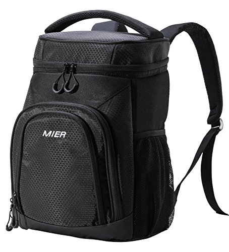 Ice Bag Cooler (MIER Insulated Cooler Backpack Leakproof Soft Cooler for Lunch, Picnic, Hiking, Beach, Park, 24Can, Black)