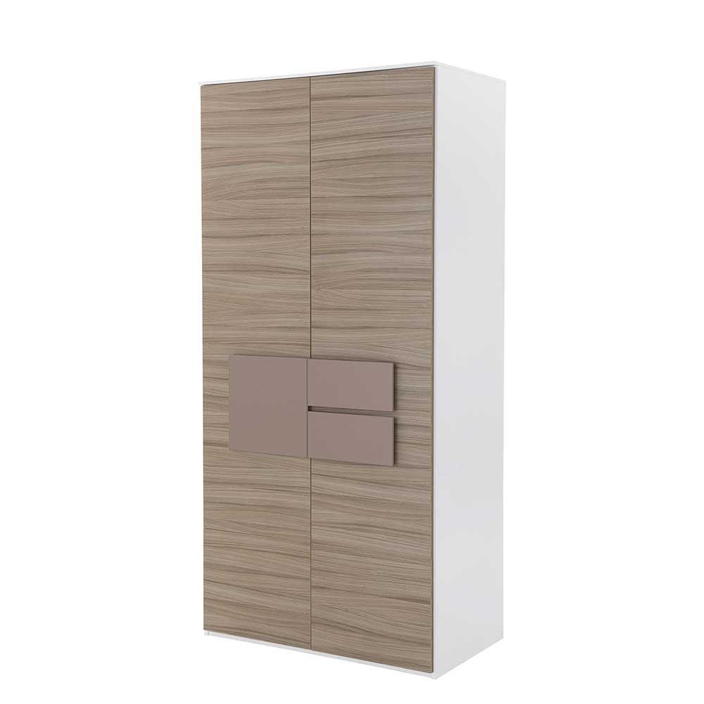 Pharao24 Jugendzimmer Kleiderschrank in Holz Weiß Taupe