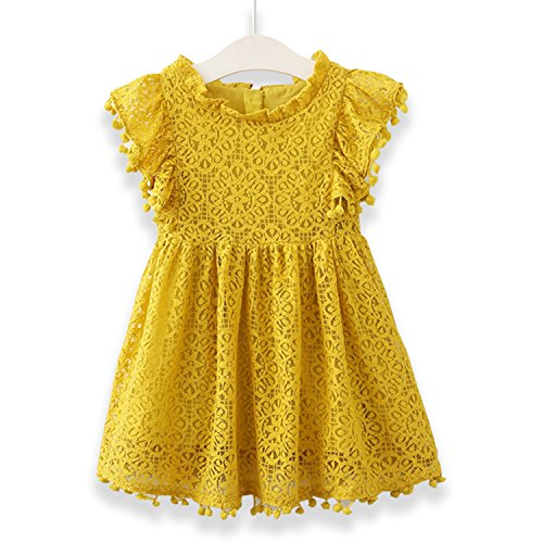 Doris Batchelor Elegant Summer Baby Girls Tassel Hollow Out Children Lace Dress for Girls Birthday Party Dress Kids Costume Yellow 6 ()