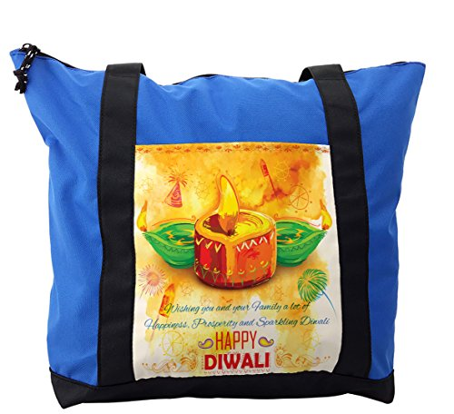 Lunarable Diwali Shoulder Bag, Oil Painting Asian Party, Durable with Zipper by Lunarable