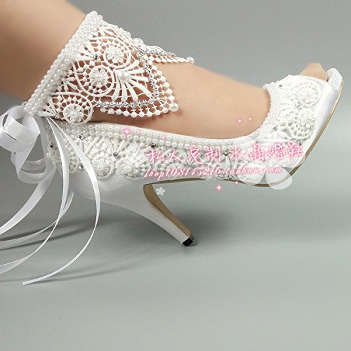 Sandals Water Table Bracelet Pearl Women'S Shoes Toe Shoes High Silks Peep Bride Woman Shoes Satins VIVIOO Lady Bow Prom 8 Wedding Rhinestone Lace 7SaOFwq5n