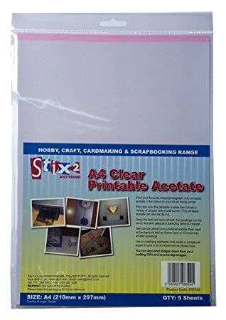 photograph about Printable Acetate named Stix2 Distinct Printable Acetate Sheets, A4, Pack of 5