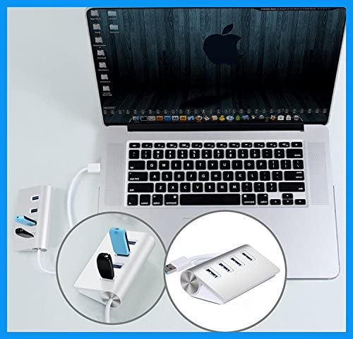 4 Ports USB 3.0 High-speed Data Transmission Charging Hub for PC for Mac Air//PC//Laptops Aluminum Alloy Shell