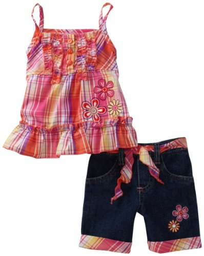 Young Hearts Baby Girls' Plaid Woven Tunic With Matching Denim Bermuda Short Set