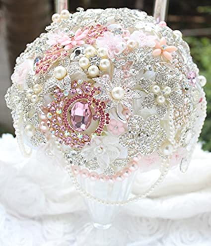 Image Unavailable. Image not available for. Color  8-inch pink bridal  bouquet DIY brooch bouquet pink wedding flowers ... 6ae2b19c259e