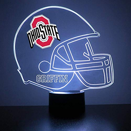 (Mirror Magic Ohio State Buckeyes Light Up LED Lamp - Football Helmet Night Light for Bedroom with Free Personalization - Features Licensed Decal and Remote)