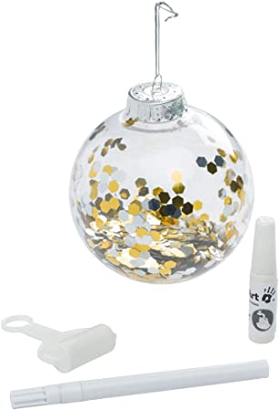 Baby Art My Christmas Fairy Adorno de Navidad con Huella de Mano de bebé, Bola personalizad para árbol, Adorno navideño Original, Transparente con Brillo