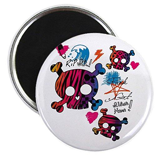 2.25 Inch Magnet Punk Girl Skulls Peace Symbol