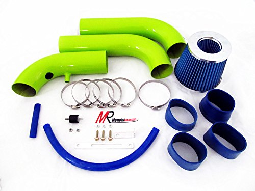 Pickup Injen Air Filter (02 03 04 05 06 07 08 Dodge Ram 1500 3.7L V6/4.7L V8 Green Piping Cold Air Intake System Kit with Blue Filter)