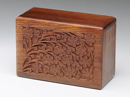 Rosewood Urn with Hand-Carved Tree of Life – Small