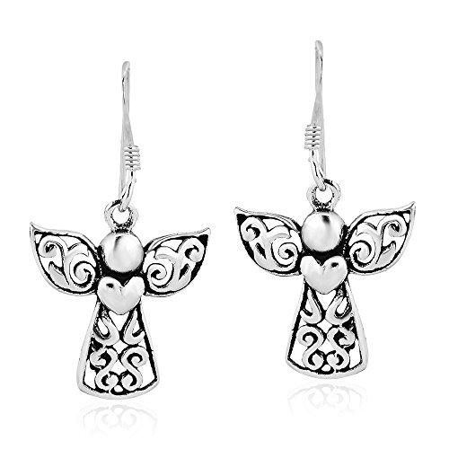 (Guardian Angel of Love .925 Sterling Silver Dangle Earrings)