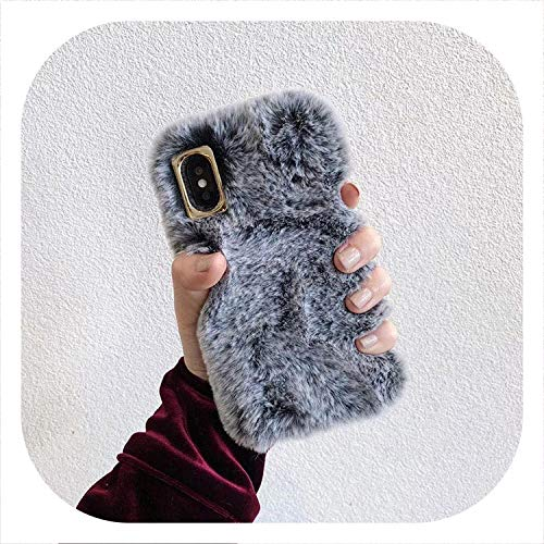The Best of USN Cute Rabbit Hair Dog Cat Plush Phone Case for iPhone Xs Max XS XR 8 7 6 6s Plus Fur Fluffy Soft Back Cover,Style 1,for iPhone X