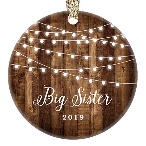 Gifts for Big Sister 2019 First Year as Big Sister Christmas Ornament, Rustic New Baby In Family Daughter Xmas Collectible Present 3
