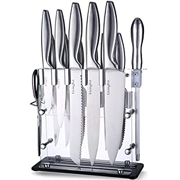 Amazon Com 8 Piece Knife Set With Tempered Glass Block