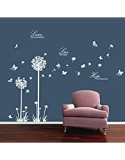 decalmile Black Dandelions and Butterflies Wall Decals Removable Vinyl Wall Stickers Bedroom Living Room Office Home Decoration
