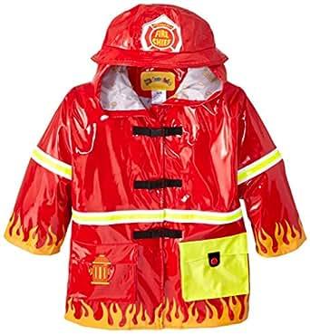 Kidorable Fireman Kids Rain Jacket, All Weather Raincoat, Red, Size 2T, Little Kids (US Sizing), Waterproof, Machine Washable