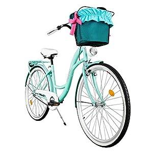 """51FMs3HtRwL. SS300 Milord. Comfort Bike con Cesto, Bicicletta da Città Donna, 1 velocità, Acqua, 26"""""""
