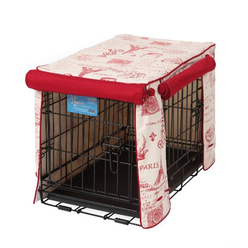 Crate Covers and More Double Door 48 Pet Crate Cover, Parisian Red with Simply Red Twill by Crate Covers and More