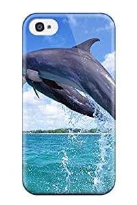 Iphone 4/4s Case Cover - Slim Fit Tpu Protector Shock Absorbent Case (nice Jumping Dolphin )