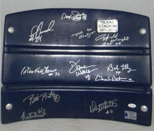 (Woodson Novacek Johnston Lilly +7 Signed Dallas Cowboys Texas Stadium Seatback - NFL Autographed Game Used Stadium Equipment)