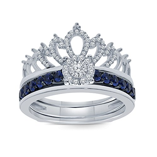 7/8ct Round Natural White Diamond Blue Sapphire Sterling Silver Insert Crown Ring Engagement Wedding