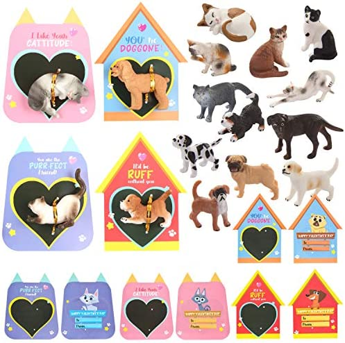 JOYIN 16 Pack Valentines Day Card with Dog and Cat Figure Toys for Valentine Kids Party Favor, Classroom Exchange Prizes, Valentine's Greeting Cards