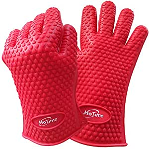 HoTime Heat Resistant Gloves- Silicone & Waterproof Hands Protection- Ideal For High Temperature Materials- Comfortable Anti Slip Flame & Pro Food Gloves For Cooking, BBQ, Baking, Grilling (Red)