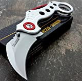 """Tactical assisted Folding Pocket Knife 5"""" closed Silver handle"""